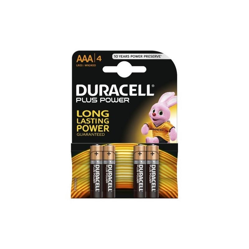 Pilas alcalinas Duracell LR03 AAA. Blister de 4.