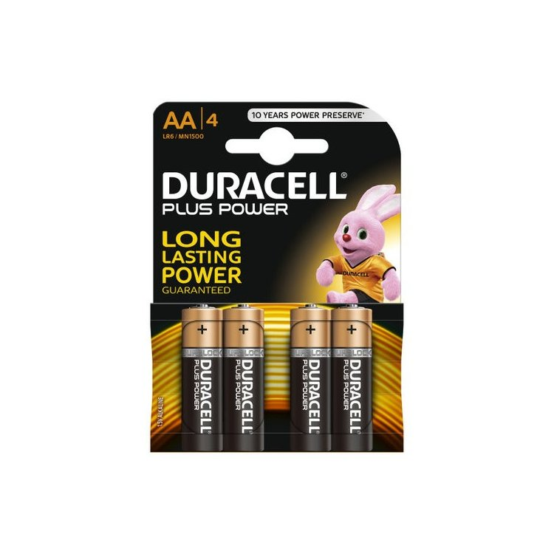 Pilas alcalinas Duracell LR06 AA. Blister de 4.