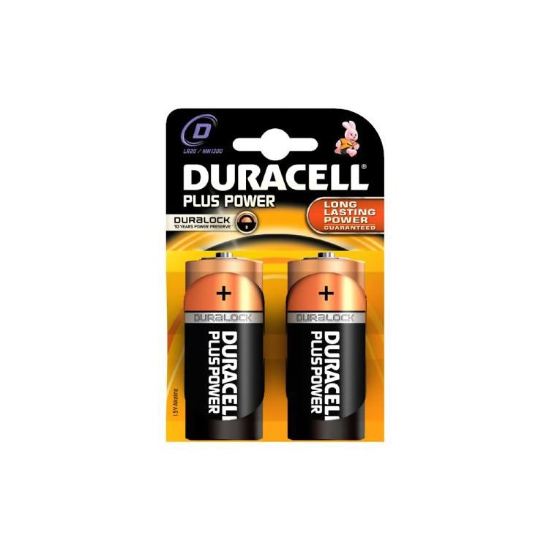Pilas alcalinas Duracell LR20 D. Blister de 2.