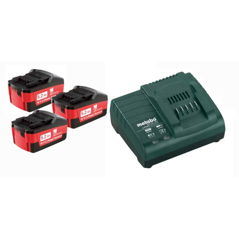 Set de 3 baterías de 5,2Ah 18V + Cargador ASC 30-36 de Metabo