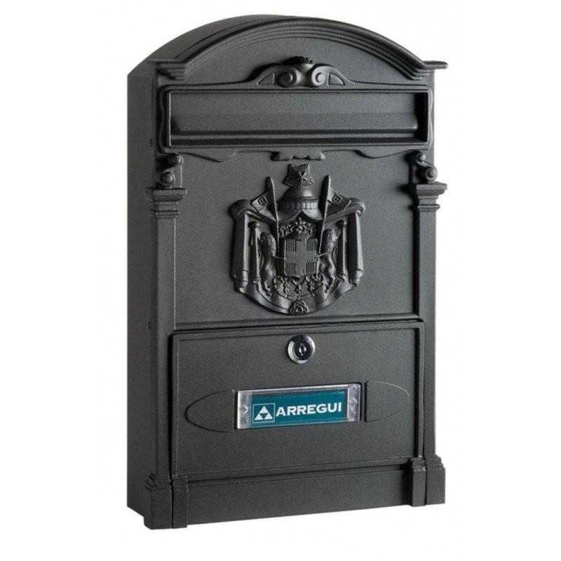 Buzón exterior de aluminio con escudo Residencia Arregui