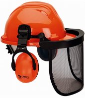 Kit Forestal Climax con casco tirreno, visor de malla y protector auditivo.