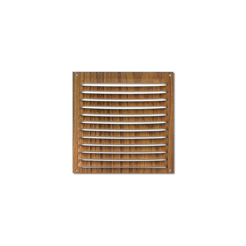 Rejilla de ventilación en aluminio con acabado en madera 15x15
