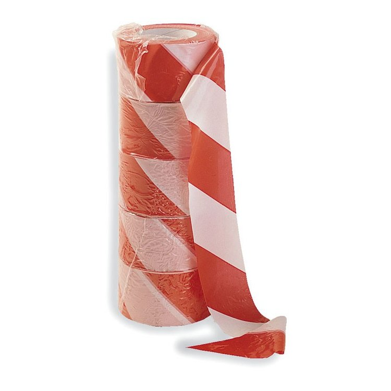 Pack de 5 rollos de cinta de señalizar roja/blanca