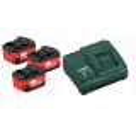 Set de 3 baterías de 4,0 Ah 18V + Cargador ASC 30-36 de Metabo