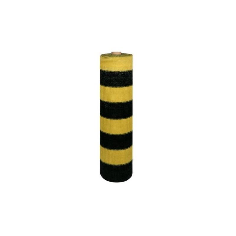Malla de ocultación 70% Amarilla/Negra. Rollo de 50 m.