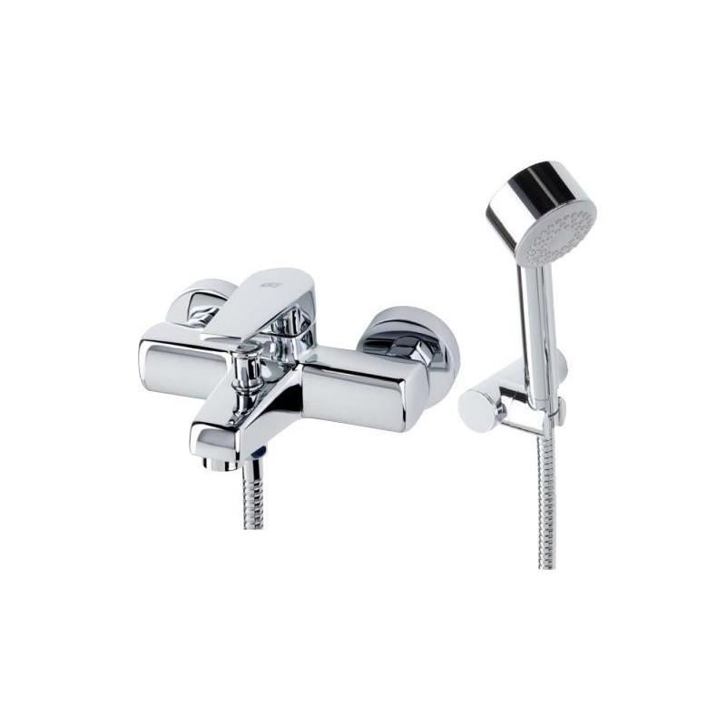 Grifo monomando para baño-ducha Klip Cromo con soporte, flexo y ducha