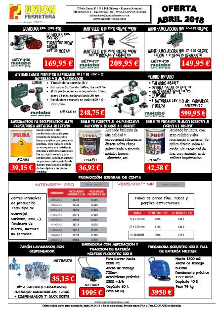 Oferta de productos Abril 2018